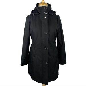 Kristen Blake Front Button Solid Hood Coat